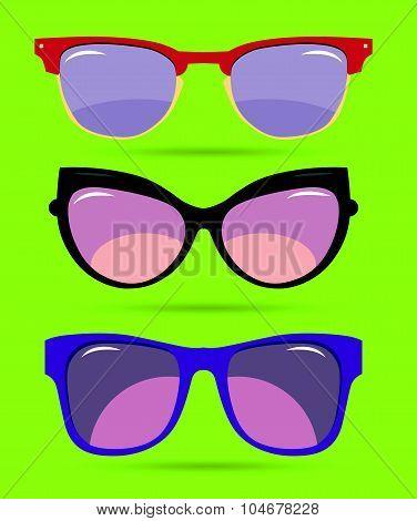 Vector set of colorful modern sun glasses.