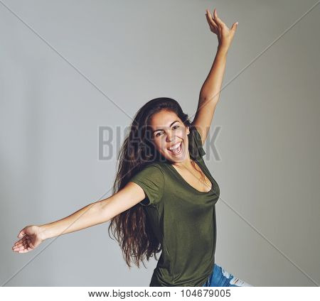 Vivacious Attractive Young Woman Celebrating