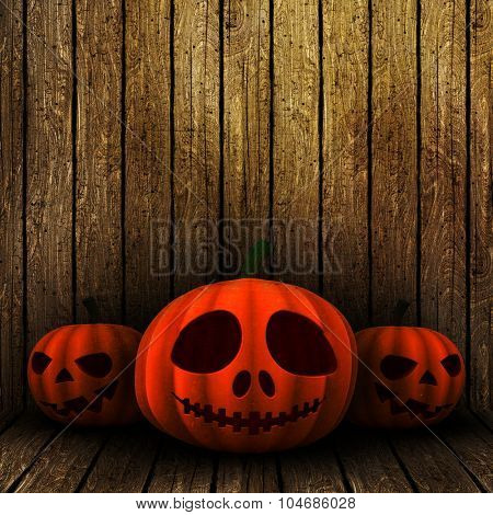 3D render of grunge Halloween jack o lanterns on a wooden background
