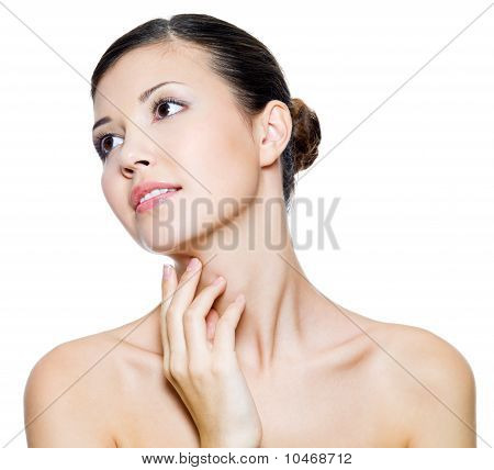 Beautiful Woman Touching By Fingers Her Neck