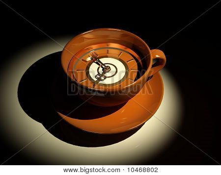 Cup With Clock. Eight O'clock