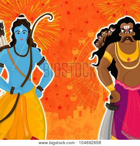 Creative illustration of Lord Rama and Ravana on grungy fair view background for Indian festival, Happy Dussehra celebration.