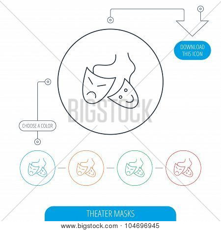 Theater masks icon. Drama and comedy sign. Masquerade or carnival symbol. Line circle buttons. Download arrow symbol. Vector poster