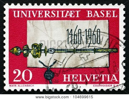 Postage Stamp Switzerland 1960 Founding Charter And Scepter