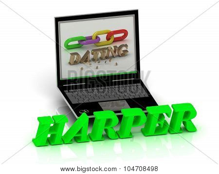 Harper- Name And Family Bright Letters Near Notebook