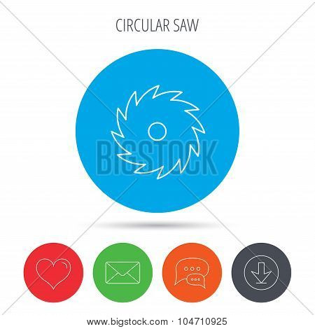 Circular saw icon. Cutting disk sign.