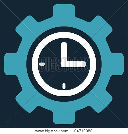 Time Setup vector icon. Style is bicolor flat symbol, blue and white colors, rounded angles, dark blue background. poster