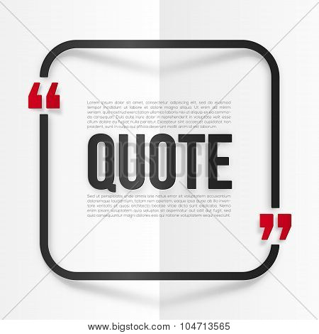 Red and black rounded frame with place for your quote at white folded paper background