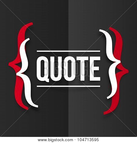 Red and white curly brackets with place for your text at black folded paper background