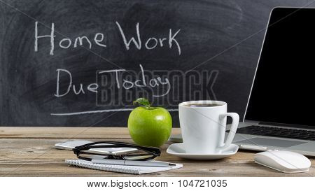 Desktop With Technology And Snacks For Teacher