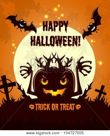 Halloween night background with full moon, horror zombie pumpkin and bats