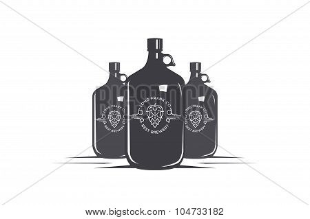 Beer bottles and logo  on a white background. Stock vector.