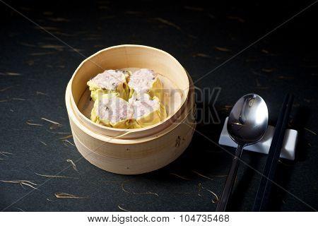 Dimsum In Bamboo Container