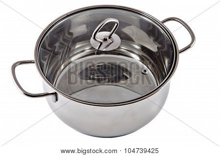 New Stainless Steel Pan With A Transparent Glass Cover.