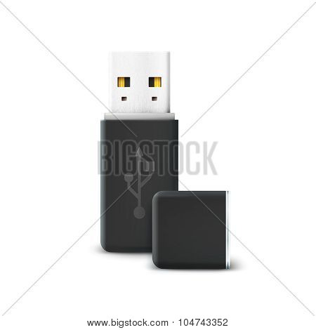 Black flash drive isolated on white