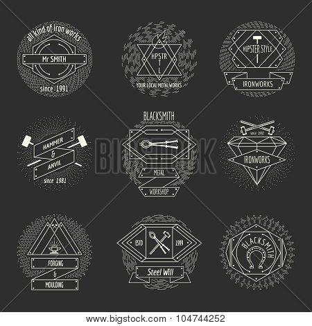 Blacksmith and forging logo or emblem vintage craft hipster vector set. Hammer and anvil, equipment and workshop illustration poster