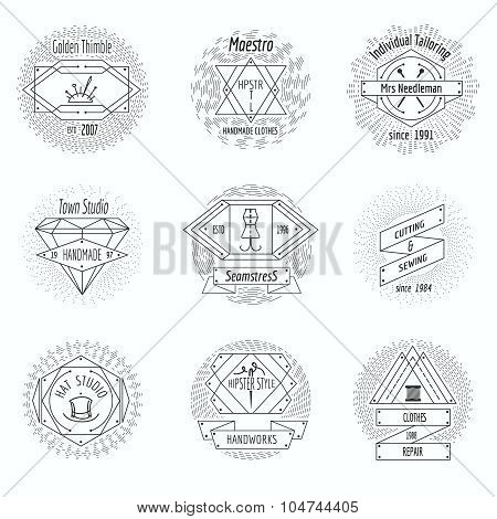 Craft clothes studio, sewing workshop logo and tailor emblems vintage vector set. Pin and handicraft, needlecraft emblem illustration poster