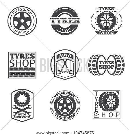 Tyre store logo. Vintage car vector label
