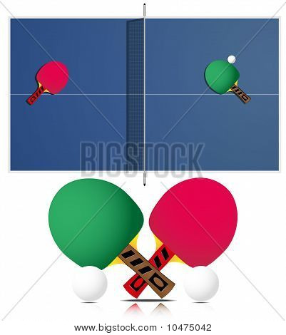 Ping Pong Table and rackets