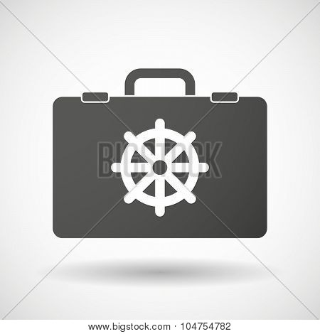 Isolated Briefcase Icon With A Dharma Chakra Sign