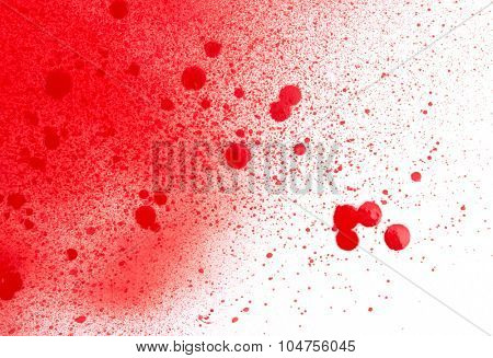 Blood (paint) spatters, splashes and sprays isolated on white
