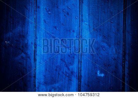 Blue Wooden Door With Raindrops