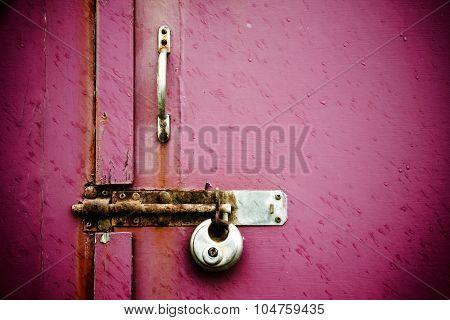 Pink Wooden Door With Lock