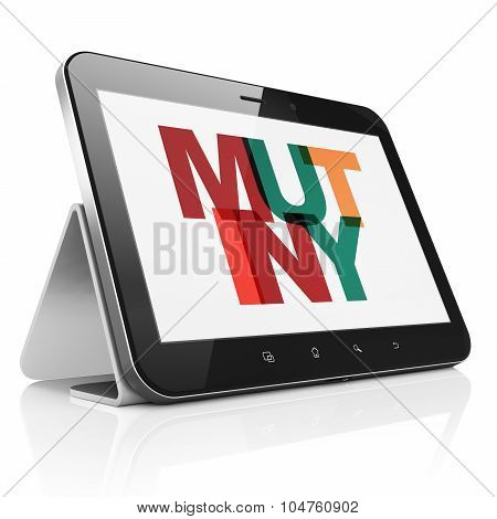 Politics concept: Tablet Computer with Mutiny on  display