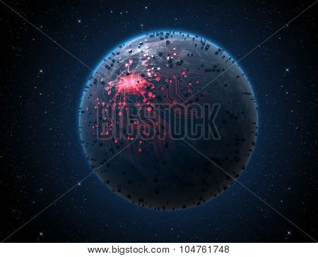 Alien Planet With Illuminated Network