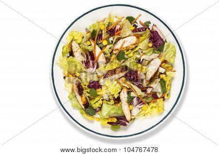 Chicken And Sweetcorn Salad Overhead Shot