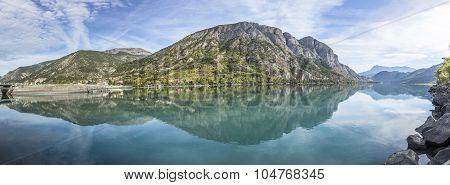 The Durance Lake At Lac De Serre Poncon In The Alps