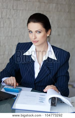 Accountant Calculating In Office