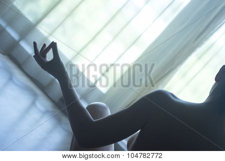 Yoga Nude Woman In Lotus Position Breathing