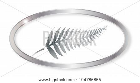 New Zealand Silver Fern Oval Button