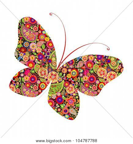 Flower print with butterfly