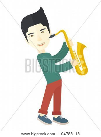 An asian musician playing saxophone vector flat design illustration isolated on white background. Vertical layout. poster