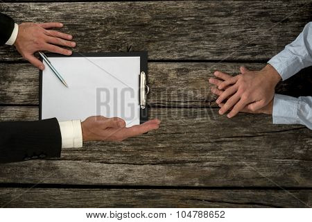 Overhead View Of Business Employer An Employee Sitting At Office Desk Negotiating About Employment C