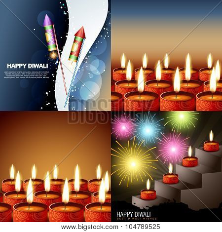 vector set of diwalli background with beautiful diya and crackers illustration
