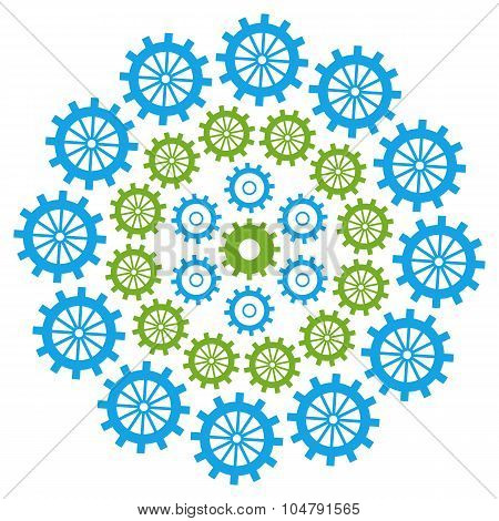 Gears Circular Green Blue