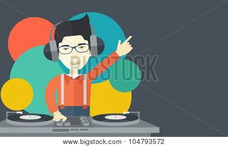 An Asian DJ wearing headphones and glasses with hand up playing vinyl vector flat design illustration. Horizontal layout with a text space. poster