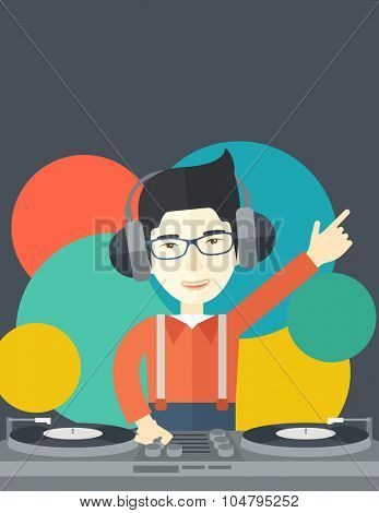 An Asian DJ wearing headphones and glasses with hand up playing vinyl vector flat design illustration. Vertical layout with a text space. poster