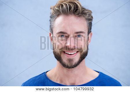 Close Up Portrait Man With Beard Smiling