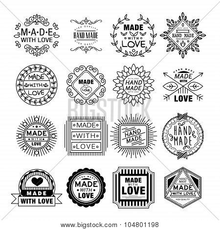 Handmade Emblems in Linear Style Vector Illustration Set