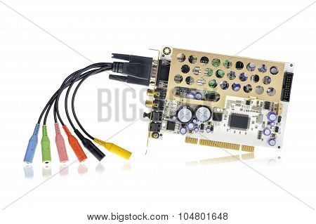 PCI sound card isolated on white background