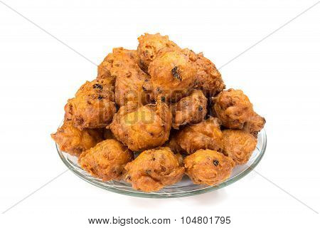 Heap Of Fritters Or Oliebollen On Scale