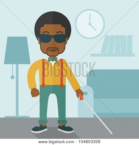 An African American blind man in dark glasses standing with walking stick inside the house vector flat design illustration. Square layout.