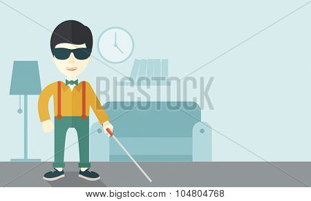 An Asian blind man in dark glasses standing with walking stick inside the house vector flat design illustration. Horizontal layout with a text space.