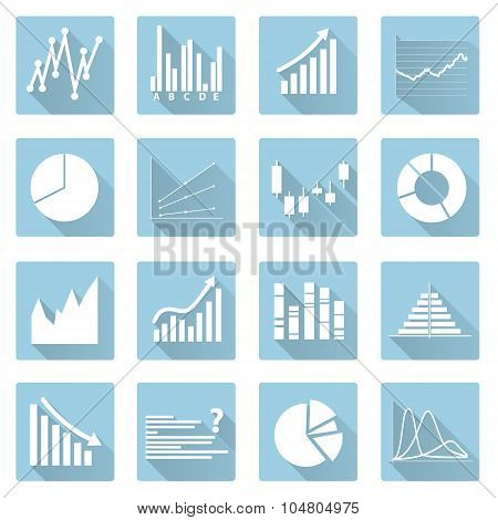 Various Symbols Of Graphs Flat Blue Icons Eps10