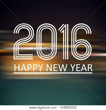 Happy New Year 2016 On Dark Color Horizontal Lines Background Eps10