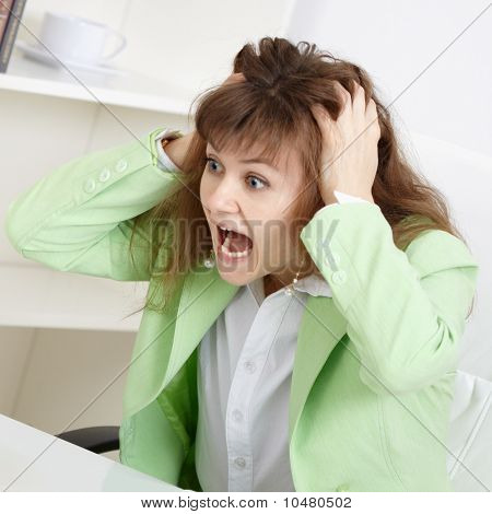 Frightened Business Woman Loudly Shouts